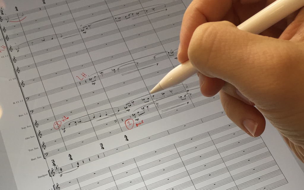 Marking up a score with iPad Pro and Apple Pencil
