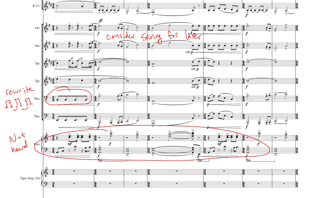 Ensemble score marked up in a lesson.
