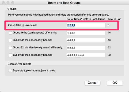 Beam and Rest Groups dialog