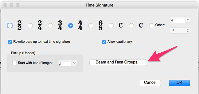 Time Signature dialog