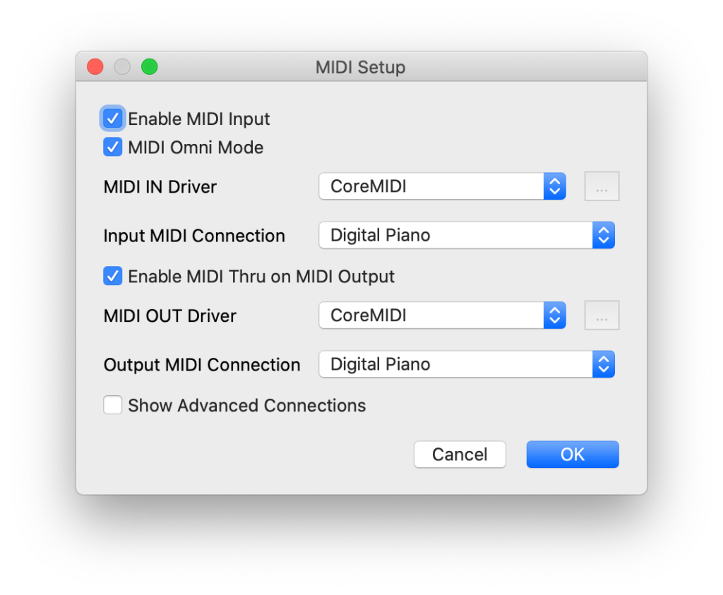 VMPK MIDI Connection Settings